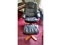 Black reclining leather chair and foot-stall