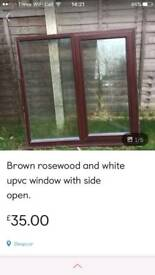 Brown rosewood and white upvc window with side open
