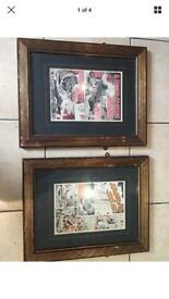 Two retro comic pictures framed