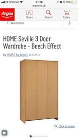 Argos Seville 3 door wardrobe - Beech effect