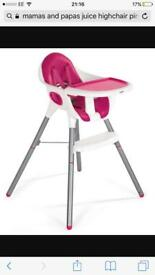 Mamas and papas juice highchair in pink
