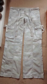 Combat type trousers by Papaya, Size UK10, light khaki pattern, 100% cotton, good condition