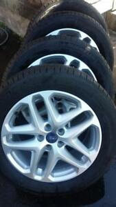 LIKE BRAND NEW 2014 FORD FUSION FACTORY OEM   17 INCH WHEELS  WITH HIGH PERFORMANCE 225 / 50 / 17 ALL SEASON TIRES