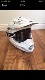 Motorcycle Trials Helmet and Goggles