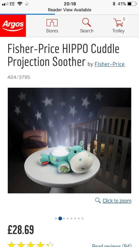 New Without Box Fisher-Price HIPPO Cuddle Projection Soother