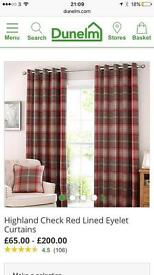 Red tartan curtains, fully lined, eyelets, 116x137cm