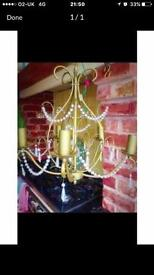 LAURA ASHLEY GOLD CHANDELIER WITH PEARL DROPLETSQUICK SALE NEEDED