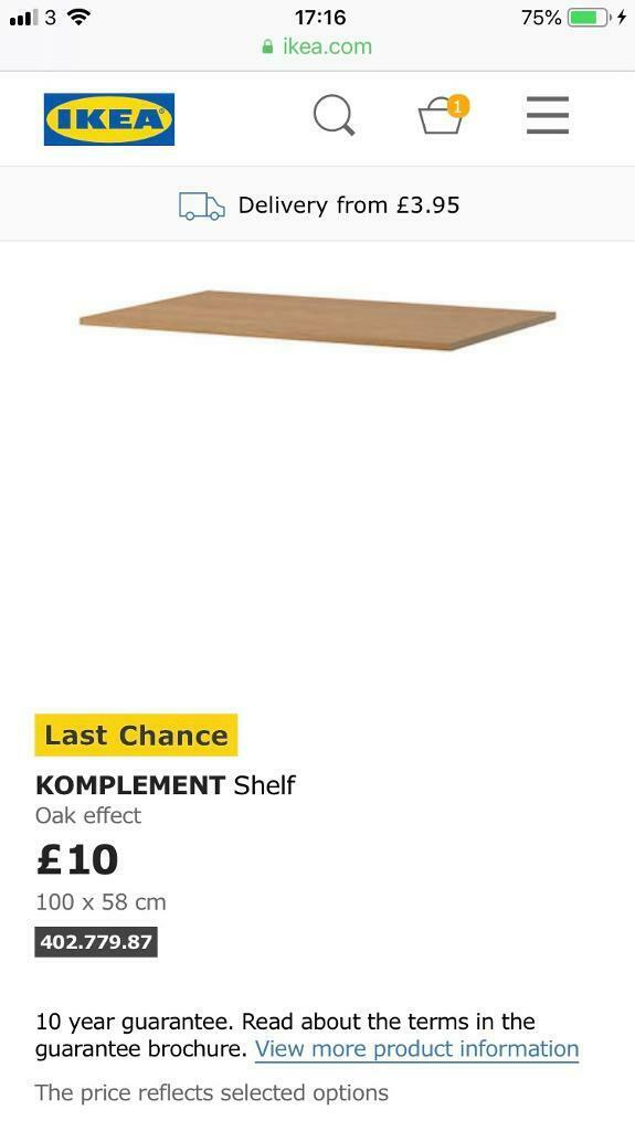Half Price Pax 2 X Komplement Shelf Oak Effect 100 X 58 Cm In Kilburn London Gumtree