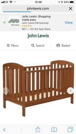 John Lewis antique pine cotbed that converts to junior bed