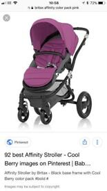 Britax affinity pushchair in berry and carrycot in black
