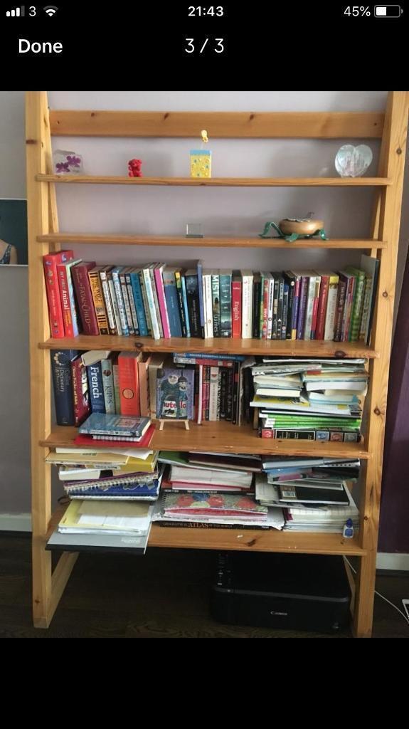 Large Oak Wood Book Shelf