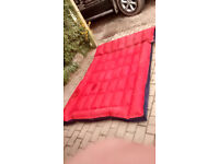 Double airbed, rubberised cotton type hard wearing material, old school L192cm W127cm D12/13 apx