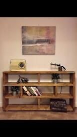 Solid handmade industrial style large bookcase/sideboard