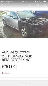 Audi A4 2.5 tdi 2004 Quattro spares or repairs breaking grey