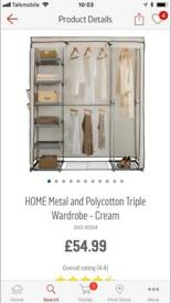 Argos Polycotton/Fabric triple wardrobe