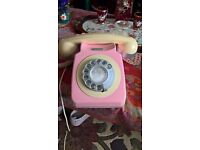 Retro pale pink dial phone