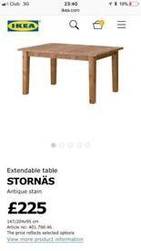 IKEA Stornas table 147/203 cm antique pine brand new
