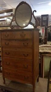 Tall Boy Dresser OAK with Mirror Just arrived