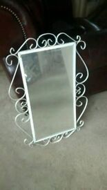 WHITE WROUGHT IRON MIRROR IDEAL GARDEN DISPLAY MEASURES APPROX 48CM X75CM