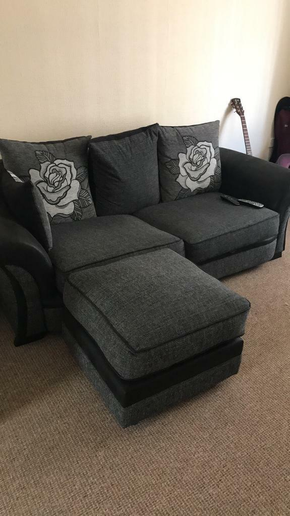 Almost New 3 Seater Sofa Love Chair And Foot Rest In Newport. Most  Comfortable White Leather Living Room ...