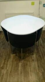 Hygena Amparo Dining Table and 4 Chairs - Black/White