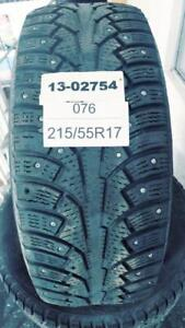 PNEUS HIVER CLOUTÉS USAGÉS / USED WINTER TIRES WITH STUDS 215/55R17 21555R17 98T NOKIAN HAKKAPELIITTA 5