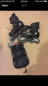 In-line skates and pads size 7