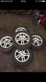 Kia alloy wheels x5 4 stud 15 inch wheels , good tyres available