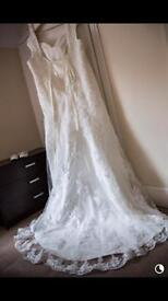 Handmade Ivory Wedding Gown size 22/24 needs dry cleaned