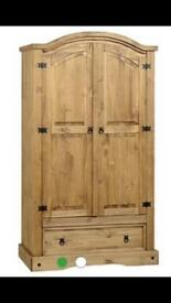 Corona 2 Door 1 Drawer Pine Wardrobe - Great Condition