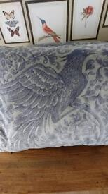 2 x Grey Velvet Bird Print Cushions
