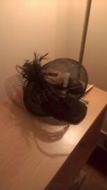 funereal fascinator. black. new. with feathers and over face netting. £20. never used.