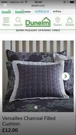 2 Grey and White Dunelm Mill Cushions