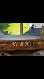 Bespoke Mr&Mrs wooden wedding cake stand