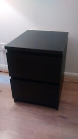 Chest of 2 drawers MALM Black-brown