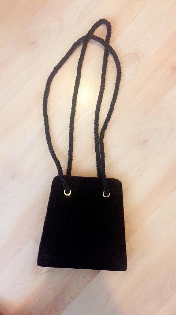 Ladies black velvet shoulder bag