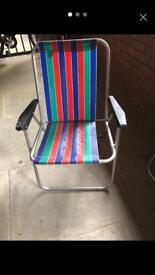 Retro vintage beach folding chairs