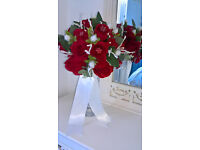 Brides Silk bouquet. Red Roses, White Scottish Thistle