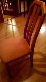 4 dining chairs, wooden with pink cloth seats. Excellent condition