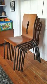 Retro Metal Wood Stacking Chairs (18 available)