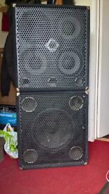 Warwick 4 x 10 and 1 x 15 Bass cabs