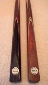 2 vintage Permac snooker cues