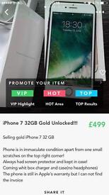 iPhone 7 gold 32Gb unlocked