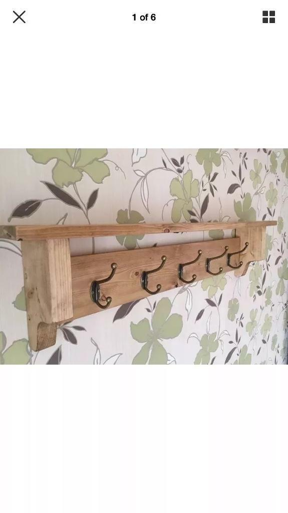 Vintage Style 40cm Pine Coat Hook Rack With Shelf In Hinckley Inspiration Vintage Style Coat Hook Rack With Shelf