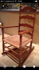 Old rush seat rocking chair