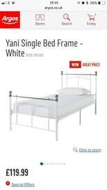 Argos yarni single bed white metal
