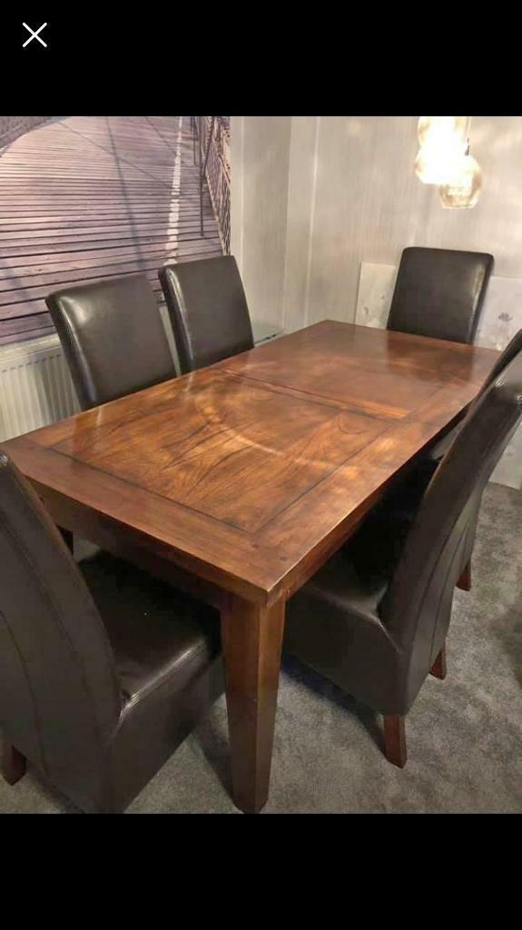 High Quality Extendable Dining Table With 6 Chairs Leicester