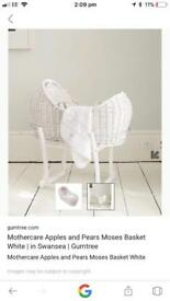 Mothercare apples and pears Moses basket - with stand
