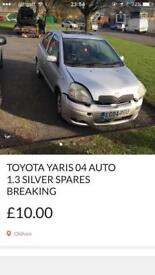 Toyota Yaris 2003 1.3 auto silver spares or repairs breaking