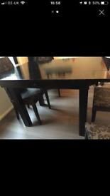 Black solid heavy wood dining room table £50ono